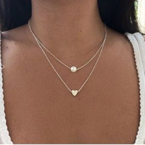 Heart & pearl double strand necklace